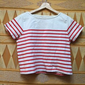 9c0b2157d837fc Madewell Cotton Crop Top White Red Striped Size S